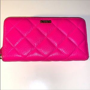 """Kate Spade Hot Pink """"Georgiana"""" Quilted Wallet"""